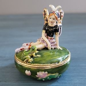 Bejeweled Fairy and Frog Trinket Box